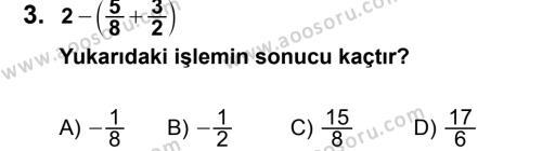 Matematik 7 Dersi 2013 - 2014 Yılı 2. Dönem Sınavı 3. Soru