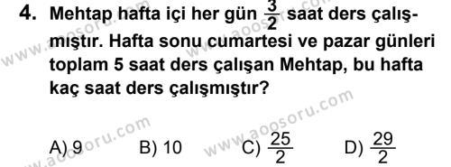 Matematik 7 Dersi 2013 - 2014 Yılı 2. Dönem Sınavı 4. Soru