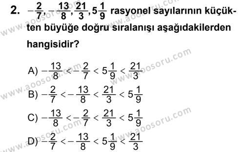 Matematik 7 Dersi 2013 - 2014 Yılı 3. Dönem Sınavı 2. Soru