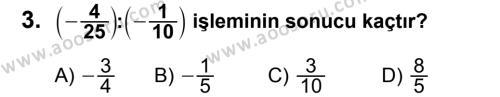 Matematik 7 Dersi 2013 - 2014 Yılı 3. Dönem Sınavı 3. Soru