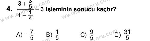 Matematik 7 Dersi 2013 - 2014 Yılı 3. Dönem Sınavı 4. Soru