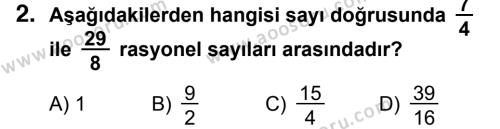 Matematik 7 Dersi 2014 - 2015 Yılı 3. Dönem Sınavı 2. Soru