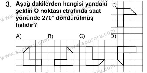 Matematik 7 Dersi 2015 - 2016 Yılı 2. Dönem Sınavı 3. Soru