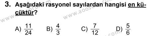 Matematik 7 Dersi 2016 - 2017 Yılı 3. Dönem Sınavı 3. Soru