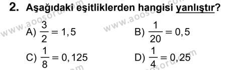 Matematik 7 Dersi 2017 - 2018 Yılı 3. Dönem Sınavı 2. Soru