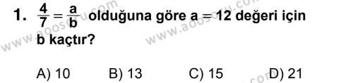 Matematik 7 Dersi 2018 - 2019 Yılı 3. Dönem Sınavı 1. Soru