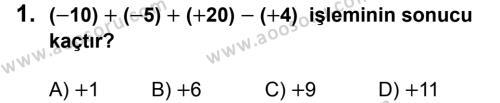 Matematik 7 Dersi 2019 - 2020 Yılı 1. Dönem Sınavı 1. Soru