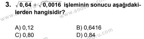 Matematik 8 Dersi 2011 - 2012 Yılı 2. Dönem Sınavı 3. Soru
