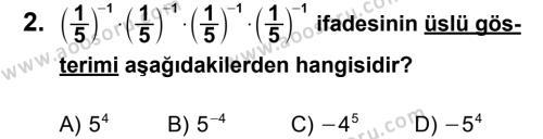 Matematik 8 Dersi 2011 - 2012 Yılı 3. Dönem Sınavı 2. Soru