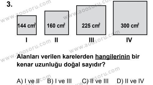 Matematik 8 Dersi 2011 - 2012 Yılı 3. Dönem Sınavı 3. Soru