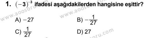 Matematik 8 Dersi 2012 - 2013 Yılı 1. Dönem Sınavı 1. Soru