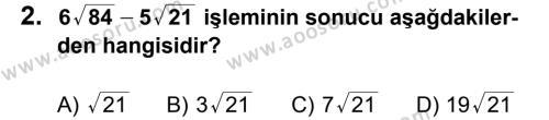 Matematik 8 Dersi 2012 - 2013 Yılı 1. Dönem Sınavı 2. Soru