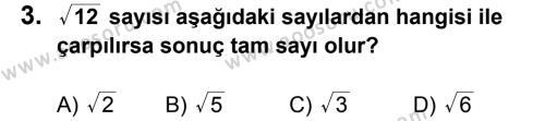Matematik 8 Dersi 2012 - 2013 Yılı 1. Dönem Sınavı 3. Soru