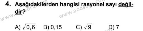 Matematik 8 Dersi 2012 - 2013 Yılı 1. Dönem Sınavı 4. Soru