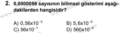 Matematik 8 Dersi 2012 - 2013 Yılı 2. Dönem Sınavı 2. Soru