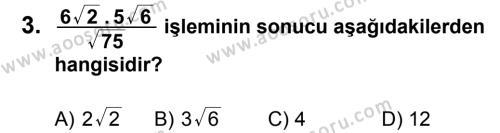Matematik 8 Dersi 2012 - 2013 Yılı 2. Dönem Sınavı 3. Soru
