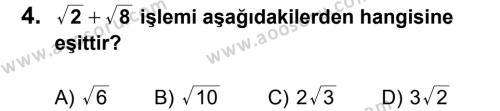 Matematik 8 Dersi 2012 - 2013 Yılı 2. Dönem Sınavı 4. Soru