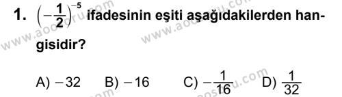 Matematik 8 Dersi 2012 - 2013 Yılı 3. Dönem Sınavı 1. Soru