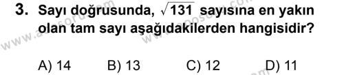Matematik 8 Dersi 2012 - 2013 Yılı 3. Dönem Sınavı 3. Soru