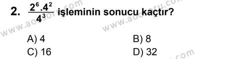 Matematik 8 Dersi 2013 - 2014 Yılı 1. Dönem Sınavı 2. Soru