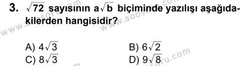 Matematik 8 Dersi 2013 - 2014 Yılı 1. Dönem Sınavı 3. Soru
