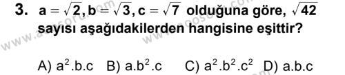 Matematik 8 Dersi 2013 - 2014 Yılı 2. Dönem Sınavı 3. Soru