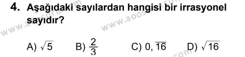 Matematik 8 Dersi 2013 - 2014 Yılı 2. Dönem Sınavı 4. Soru
