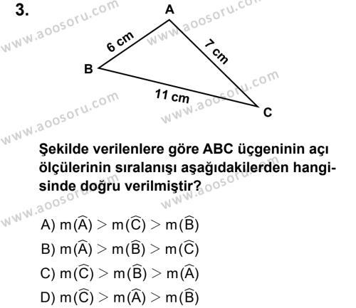Matematik 8 Dersi 2014 - 2015 Yılı 1. Dönem Sınavı 3. Soru