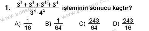 Matematik 8 Dersi 2014 - 2015 Yılı 3. Dönem Sınavı 1. Soru