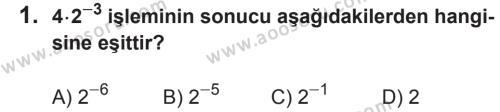 Matematik 8 Dersi 2017 - 2018 Yılı 2. Dönem Sınavı 1. Soru