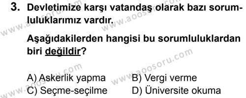 Sosyal Bilgiler 6 Dersi 2012 - 2013 Yılı 2. Dönem Sınavı 3. Soru
