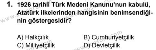 T.C. İnklap Tarihi ve Atatürkçülük 8 Dersi 2011 - 2012 Yılı 2. Dönem Sınavı 1. Soru