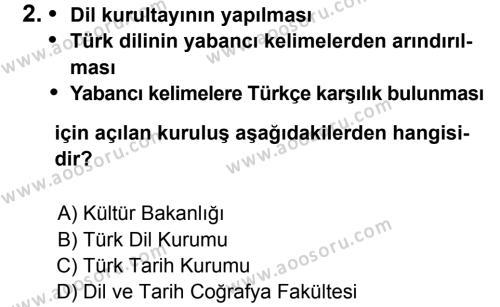 T.C. İnklap Tarihi ve Atatürkçülük 8 Dersi 2011 - 2012 Yılı 2. Dönem Sınavı 2. Soru