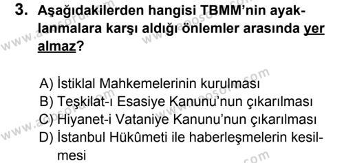 T.C. İnklap Tarihi ve Atatürkçülük 8 Dersi 2011 - 2012 Yılı 2. Dönem Sınavı 3. Soru