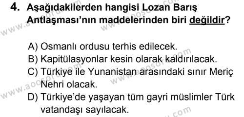 T.C. İnklap Tarihi ve Atatürkçülük 8 Dersi 2011 - 2012 Yılı 2. Dönem Sınavı 4. Soru