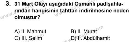 T.C. İnklap Tarihi ve Atatürkçülük 8 Dersi 2011 - 2012 Yılı 3. Dönem Sınavı 3. Soru