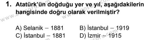 T.C. İnklap Tarihi ve Atatürkçülük 8 Dersi 2012 - 2013 Yılı 1. Dönem Sınavı 1. Soru