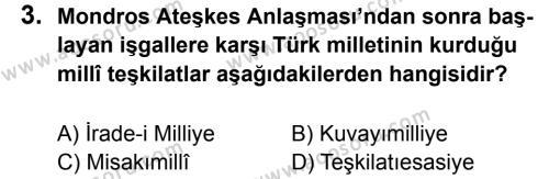 T.C. İnklap Tarihi ve Atatürkçülük 8 Dersi 2012 - 2013 Yılı 1. Dönem Sınavı 3. Soru