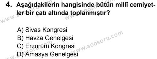 T.C. İnklap Tarihi ve Atatürkçülük 8 Dersi 2012 - 2013 Yılı 1. Dönem Sınavı 4. Soru