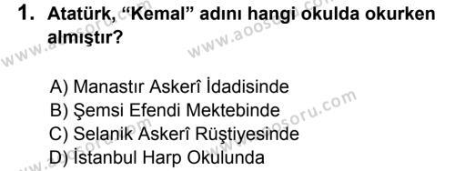 T.C. İnklap Tarihi ve Atatürkçülük 8 Dersi 2012 - 2013 Yılı 3. Dönem Sınavı 1. Soru