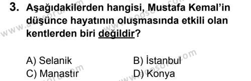 T.C. İnklap Tarihi ve Atatürkçülük 8 Dersi 2012 - 2013 Yılı 3. Dönem Sınavı 3. Soru