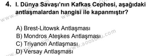T.C. İnklap Tarihi ve Atatürkçülük 8 Dersi 2012 - 2013 Yılı 3. Dönem Sınavı 4. Soru