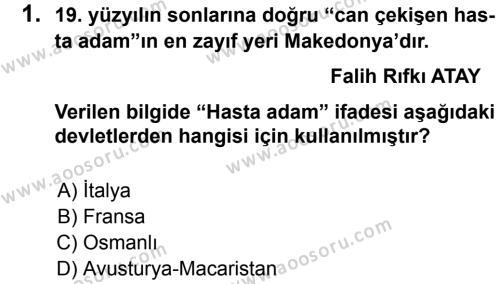 T.C. İnklap Tarihi ve Atatürkçülük 8 Dersi 2013 - 2014 Yılı 1. Dönem Sınavı 1. Soru