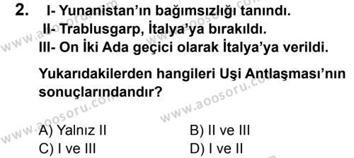 T.C. İnklap Tarihi ve Atatürkçülük 8 Dersi 2013 - 2014 Yılı 1. Dönem Sınavı 2. Soru