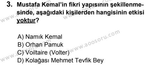 T.C. İnklap Tarihi ve Atatürkçülük 8 Dersi 2013 - 2014 Yılı 1. Dönem Sınavı 3. Soru