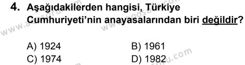 T.C. İnklap Tarihi ve Atatürkçülük 8 Dersi 2013 - 2014 Yılı 1. Dönem Sınavı 4. Soru