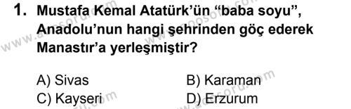 T.C. İnklap Tarihi ve Atatürkçülük 8 Dersi 2013 - 2014 Yılı 2. Dönem Sınavı 1. Soru