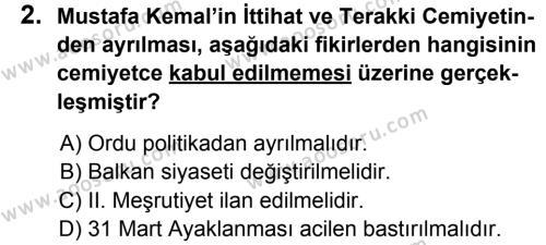 T.C. İnklap Tarihi ve Atatürkçülük 8 Dersi 2013 - 2014 Yılı 2. Dönem Sınavı 2. Soru