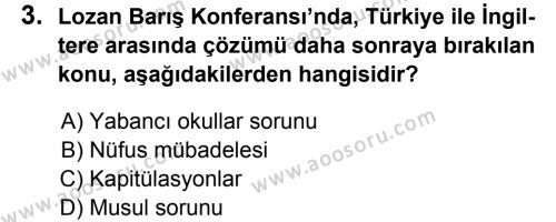 T.C. İnklap Tarihi ve Atatürkçülük 8 Dersi 2013 - 2014 Yılı 2. Dönem Sınavı 3. Soru