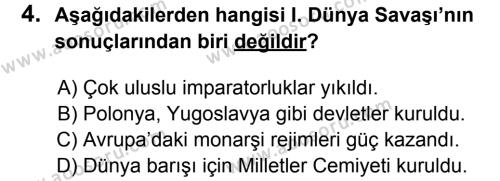 T.C. İnklap Tarihi ve Atatürkçülük 8 Dersi 2013 - 2014 Yılı 2. Dönem Sınavı 4. Soru